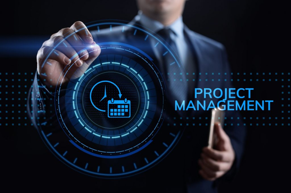 Project management Time Planning business concept on screen